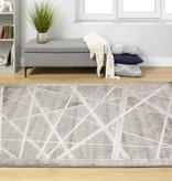 Kalora Alaska Grey White Crossed Lines Textured Rug 7'10'' x 10'6''