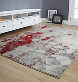 Kalora Freemont Grey/Red Abstract Expression Rug 6'7'' x 9'6''