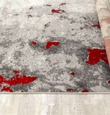 Kalora Freemont Grey/Red Abstract Expression Rug 1'11'' x 3'7''