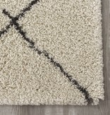 Kalora Maroq Cream Grey Uneven Trellis Rug 5'3'' x 7'7''