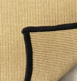 Kalora Naturals Beige Micro Boucle Black Border Rug 5'3'' x 7'7''