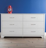 South Shore Bureau double 6 tiroirs, Blanc solide, collection Fusion