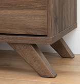 South Shore Flam 5-Drawer Chest, Natural Walnut and Matte Black