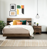 South Shore Flam Queen Complete Bed, Natural Walnut and Matte Black