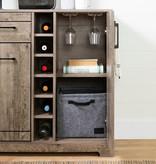 South Shore Vietti Bar Cabinet and Bottle Storage, Weathered Oak