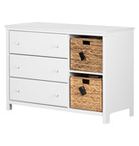 South Shore Cotton Candy 3-Drawer Dresser with Baskets, Pure White