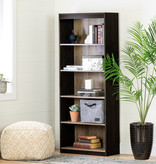 South Shore Axess 5-Shelf Bookcase, Weathered Oak and Ebony