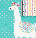 South Shore DreamIt Comforter and Pillowcase Festive Llama, Full, Turquoise and Pink
