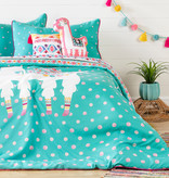 South Shore DreamIt Kids Bedding Set Festive Llama, Full, Turquoise and Pink