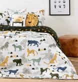 South Shore DreamIt Kids Bedding Set Safari Wild Cats, Full, White and Green
