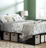 South Shore Flexible King Storage Bed with Baskets, Black Oak and Taupe