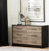 South Shore Londen 6-Drawer Double Dresser, Weathered Oak and Ebony