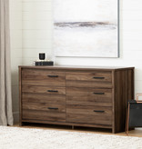 South Shore Tao 6-Drawer Double Dresser, Natural Walnut