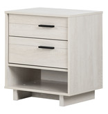 South Shore Fynn Nightstand with Cord Catcher, Winter Oak