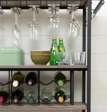 South Shore Chariot bar avec rangement à vin, Chêne vieilli et noir mat, collection Munich