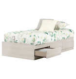 South Shore Fynn Twin Mates Bed with 3 Drawers, Winter Oak
