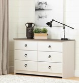 South Shore Plenny 6-Drawer Double Dresser, White Wash and Weathered Oak