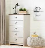 South Shore Commode 5 tiroirs, Blanc antique et chêne vieilli, collection Plenny