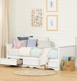 South Shore Savannah Twin Daybed with Storage, Pure White