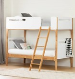 South Shore Bebble Twin Modern Bunk Beds, Pure White and Exotic Light Wood
