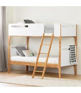 """South Shore Lits superposés simple (39"""") modernes, Blanc solide et bois clair exotique, collection Bebble"""