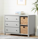 South Shore Cotton Candy 3-Drawer Dresser with Baskets, Soft Gray