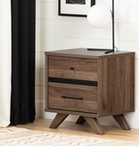 South Shore Flam 2-Drawer Nightstand, Natural Walnut and Matte Black