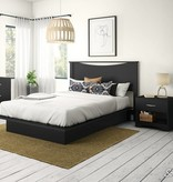 South Shore Step One Full/Queen Platform Bed (54/60'') with drawers, Black