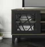 Nexera Graphik TV Stand, 72-inch, Bark Grey and Black
