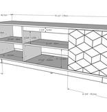 Nexera Hexagon TV Stand, 72-inch, Nutmeg and Greige