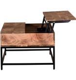 !nspire Table à café avec plateau élévateur Ojas, fini naturel brûlé