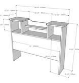 Nexera Pocono Twin Size Bookcase Headboard, Bark Grey