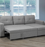 Titus Pull-Out Sofa Sectional, Light Grey