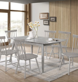 Titus 7 pcs Dining Set, Grey Solid Wood, Farmhouse Collection