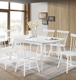 Titus 7 pcs Dining Set, White Solid Wood, Farmhouse Collection