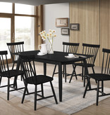 "Titus Adjustable Dining Table (36"" x 52-63""), Black Solid Wood"