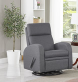 Cazis Swivel and Reclining Armchair, Gray Fabric, Nice Collection