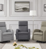 Cazis Swivel and Reclining Armchair, Light Gray Fabric, Nice Collection