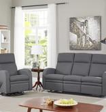 Cazis Reclining Sofa, Dark Grey Fabric, Nice Collection