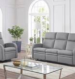 Cazis Reclining Sofa, Light Grey Fabric, Nice Collection