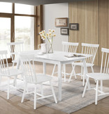 "Titus Adjustable Dining Table (36"" x 52-63""), White Solid Wood, Farmhouse Collection"