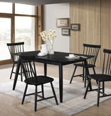 "Titus Dining Table (36"" x 55""), Black Solid Wood, Cottage Collection"