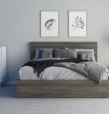 "Nexera Queen Size Platform Bed (60"") with 3 Drawers, Bark Grey"