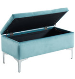 !nspire Clare Storage Ottoman, Teal and Silver
