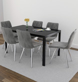 WHi Contra/Marlo 7 pcs Dining Set, Black and Grey
