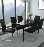 WHi Contra/Maxim 7 pcs Dining Set, Black