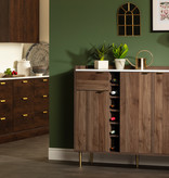 South Shore Hype Buffet with Storage, Natural Walnut and Faux Carrara Marble