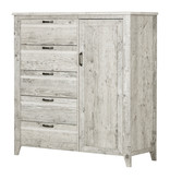South Shore Lionel Door Chest with 5 Drawers, Seaside Pine