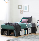 "South Shore Flexible Twin Platform Bed (39"") with baskets, Black Oak"