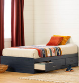 "South Shore Asten Twin Mates Bed (39"") with 3 Drawers, Blueberry"